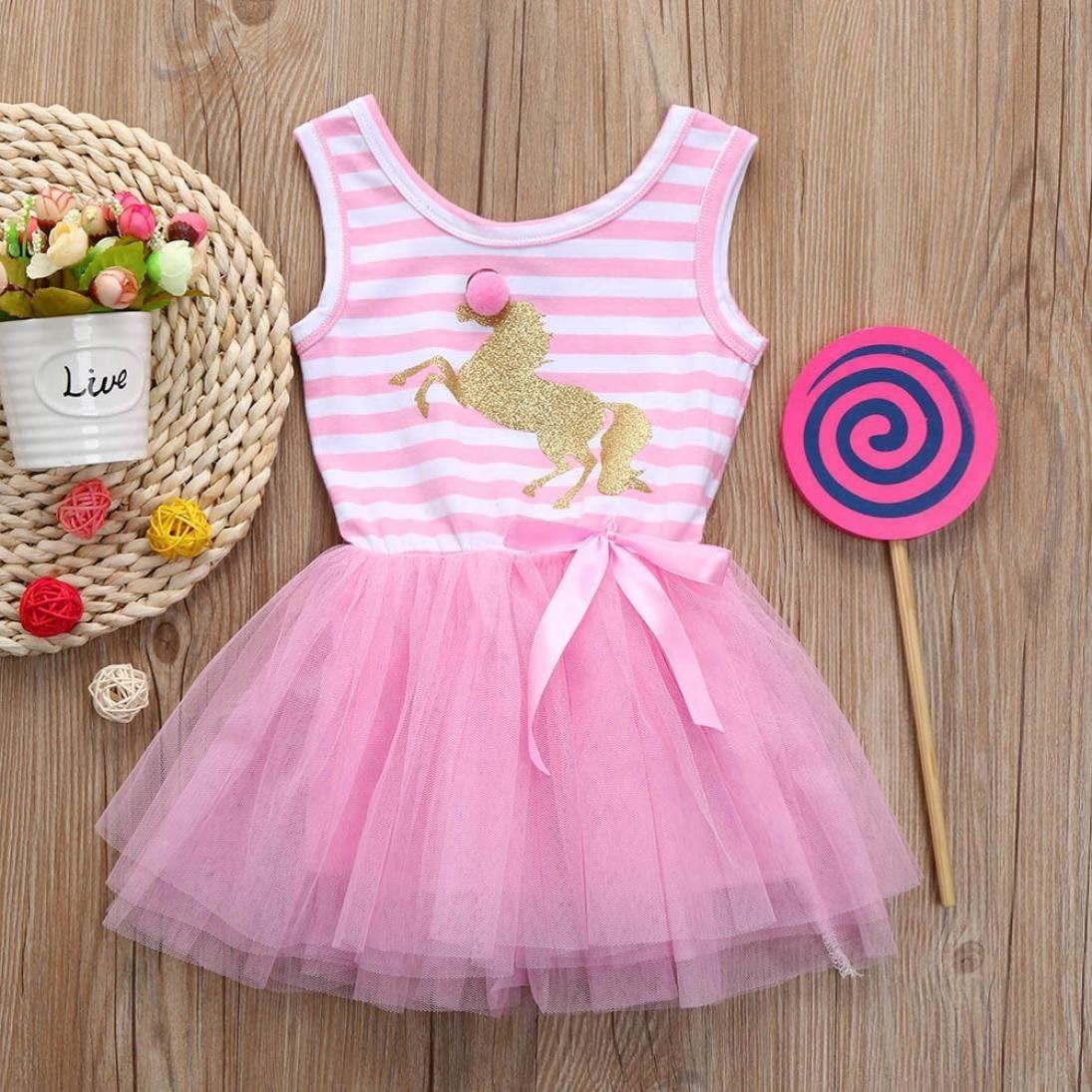 JERFER Streifen Sleeveless Festzug Party Prinzessin Kleid Kleinkind Kinder Baby M/ädchen Kleidung