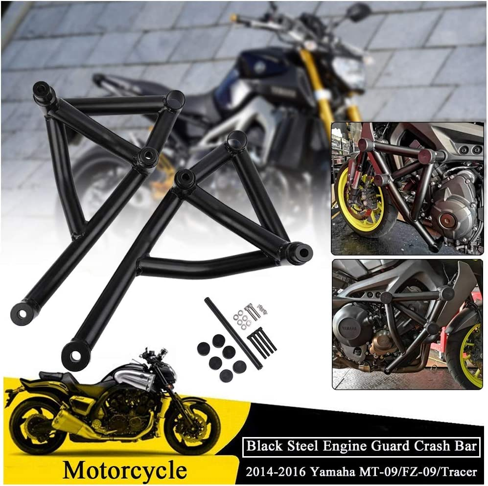 Fulfilled By Rear Cage Black Engine Guard Crash Bar For 2014 2015 2016 Yamaha MT09 FZ09 Tracer 900 GT Subcage Front Rear Stunt Cage Passenger Peg
