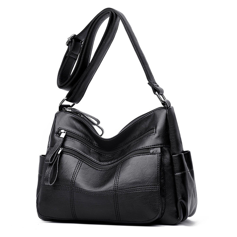 Sanxiner Leather Multi-Pocket Crossbody Purse Bag Medium Shoulder Bags For Women (A-Black)