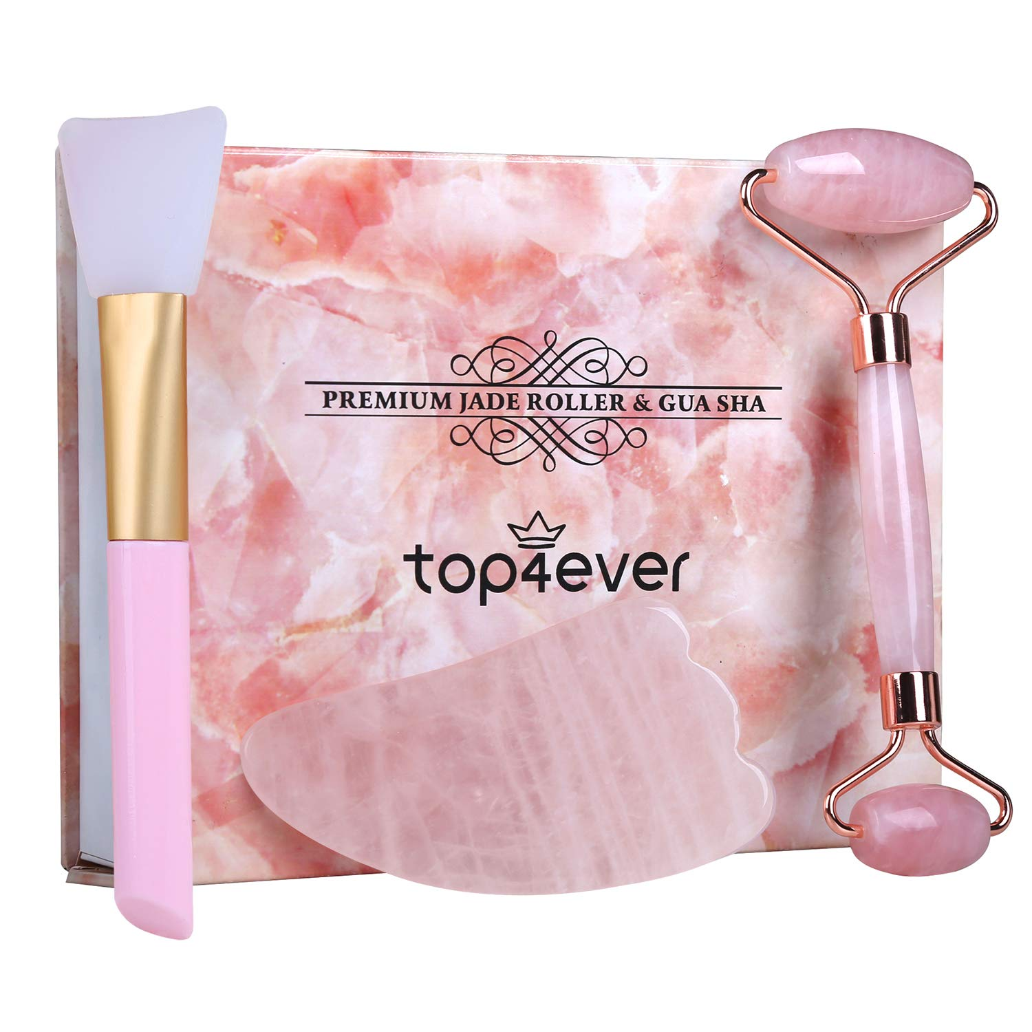 Rose Jade Roller and Gua Sha set, 2019 Updated Top4ever Rose Quartz Roller by TOP4EVER