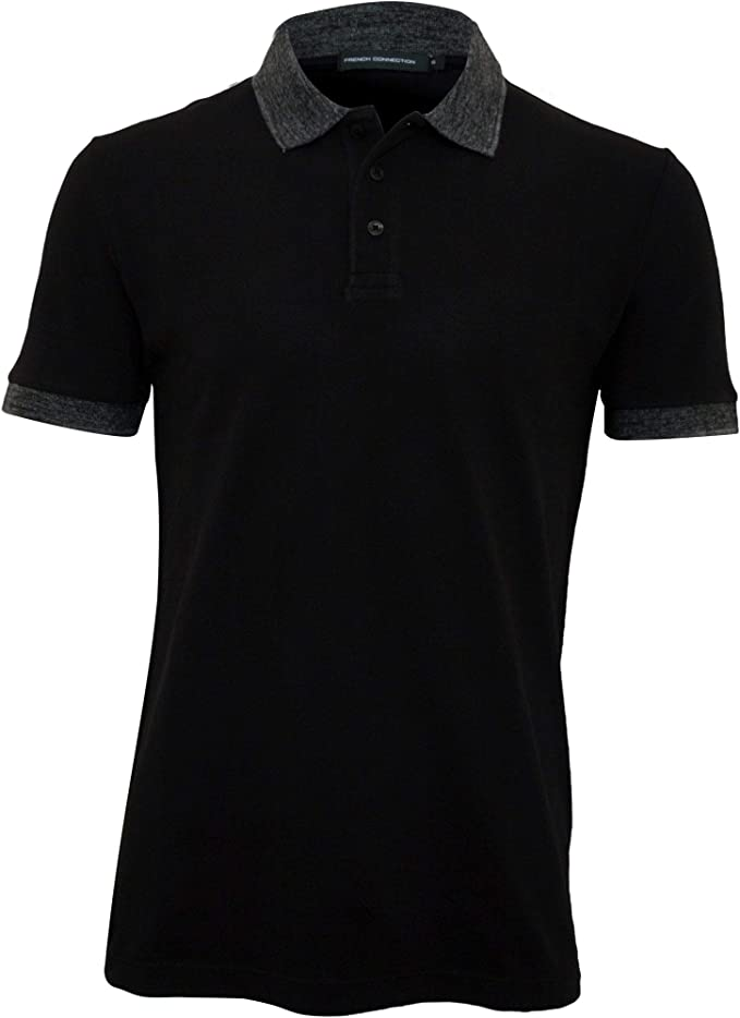 French Connection Mens Short Sleeve Solid Color Regular Fit Polo Shirt