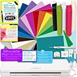 Silhouette CAMEO 3 Bluetooth Delux Vinyl Starter Bundle with 12x12 Vinyl Sheets, Transfer Paper, Guide, Class, Tools, and More