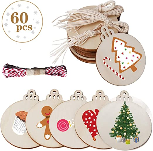 4 Predrilled Natural Wood Slices for Crafts Centerpieces DIY Wooden Christmas Ornaments Hanging Decor OurWarm 50pcs Round Wooden Ornaments Unfinished with Hole