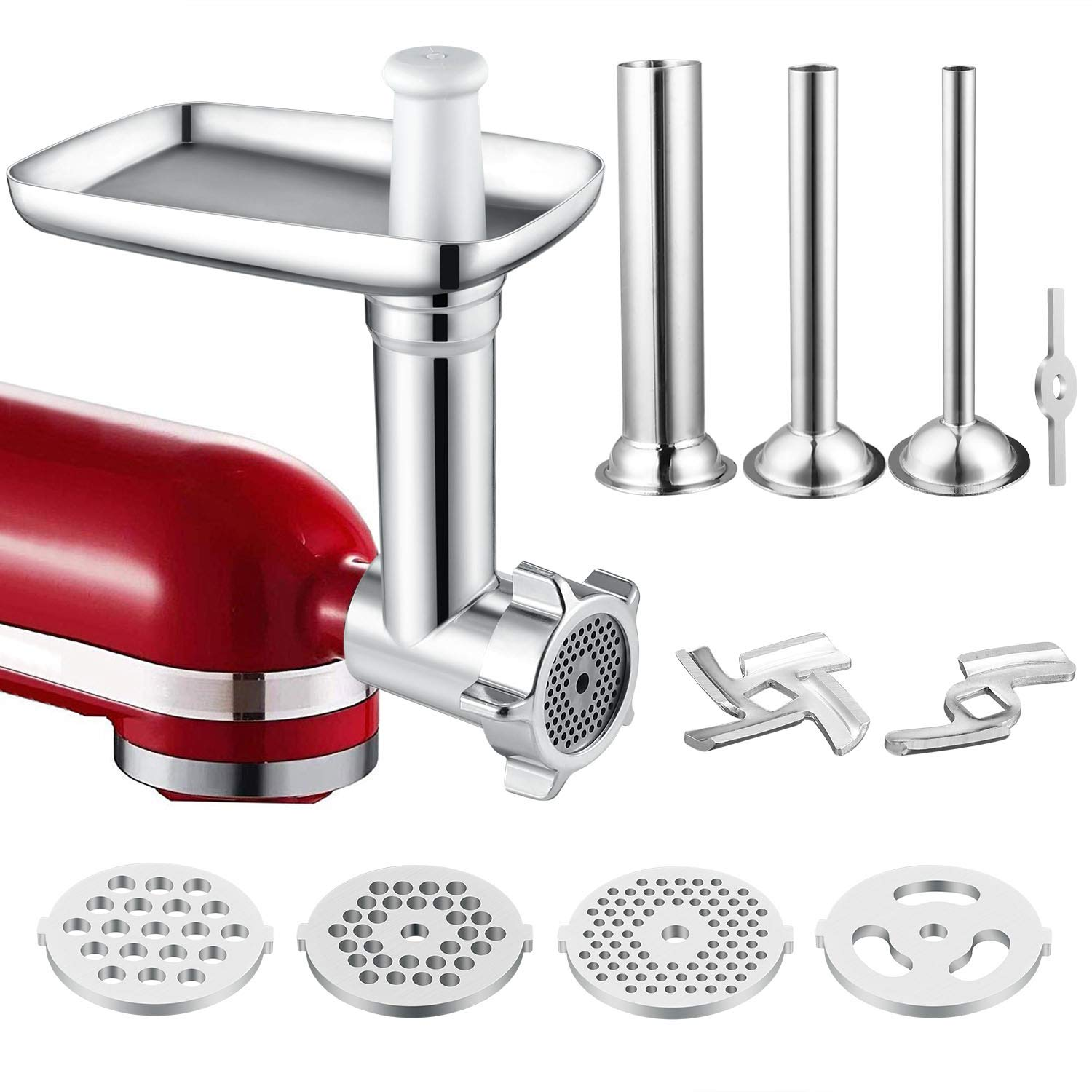Food Meat Grinder Attachment Compatible for KitchenAid Stand Mixers Included Sausage Stuffer/Grinding Plates/Grinding Blade Accessory by iVict