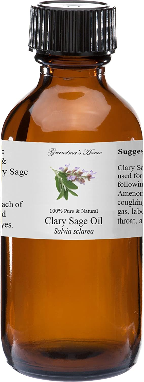 Clary Sage Essential Oil - 2 fl oz -100% Pure and Natural - Therapeutic Grade - Grandma's Home