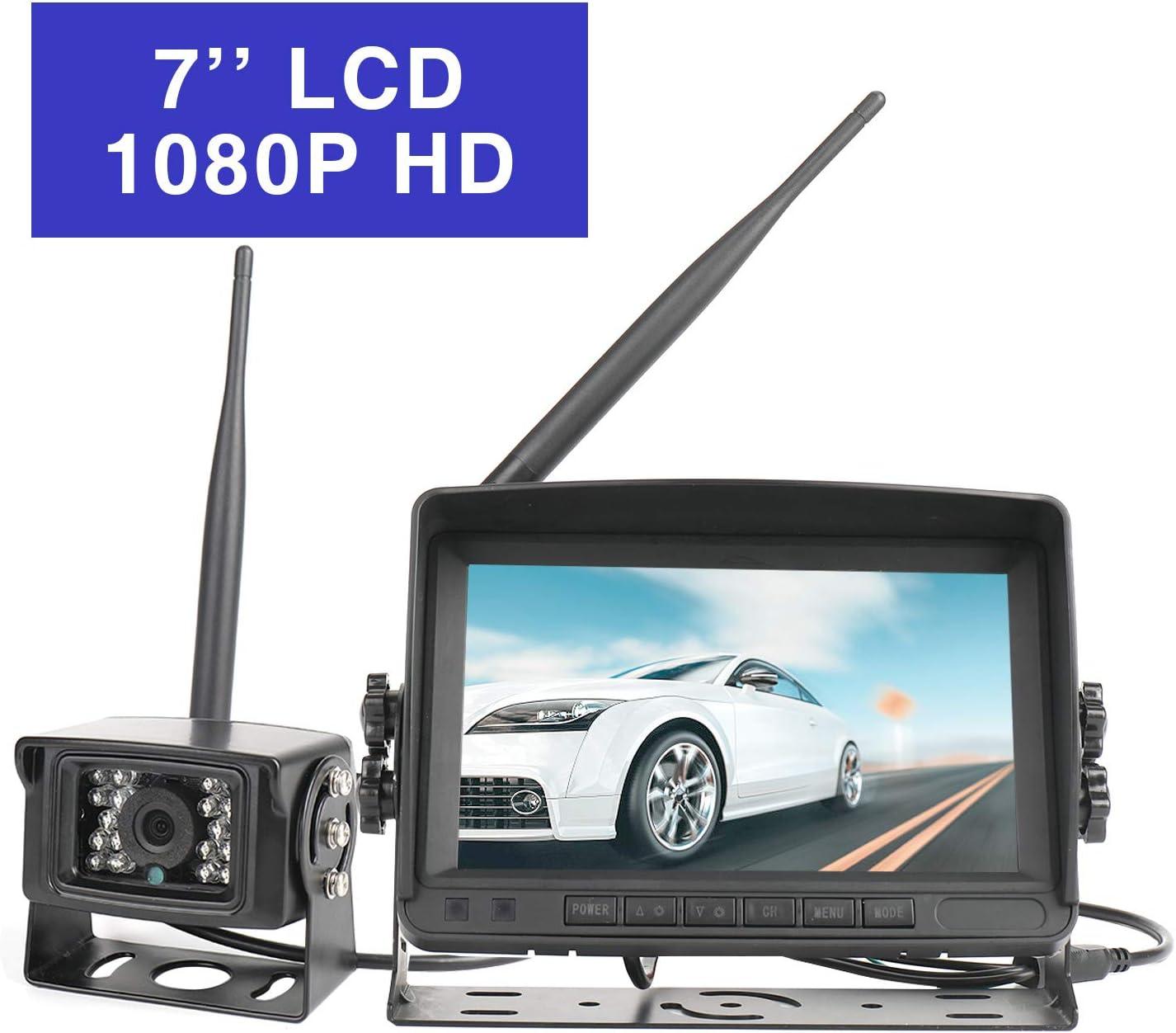 "HD Wireless Car Backup Camera Waterproof Night Vision Reverse Camera Monitor 7/"" Monitor Rear View Camera Kit for RV//Truck//Trailer//Camper"