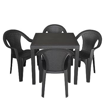 4x Gartenstuhl Stapelstuhl Balkonmobel Gartenmobel Rattan Optik