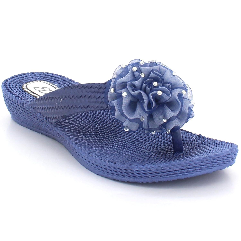 AARZ LONDON Frau Damen Zehenpfosten Beiläufig Komfort Sommer Leicht Flaches Schlüpfen Sandalen Schuhe Größe Marine