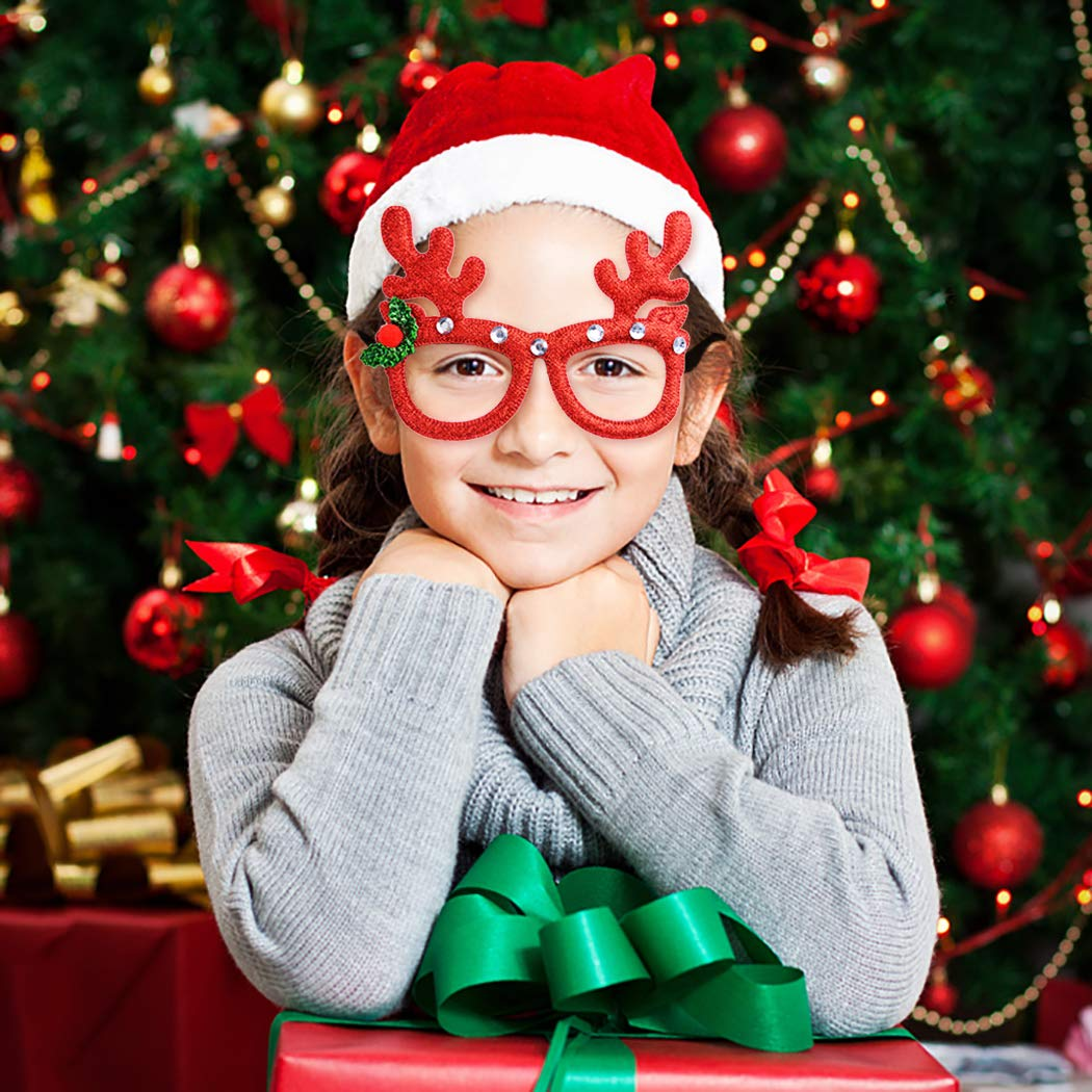Joyibay Bicchieri da 6 paia di Natale Cartone animato Assortito da occhiali per feste Accessori per decorazioni natalizie