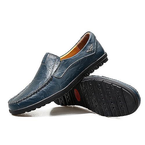 SODIAL Zapatos de conduccion Ocasionales de la Moda Mocasines de Cuero Genuino Hombres de Negocios Zapatos