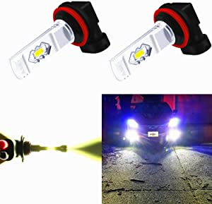 Alla Lighting 3800lm Xtreme Super Bright H11 LED Bulbs Fog Light High Illumination ETI 56-SMD LED H11 Bulb H8 H16 H11 Fog Lights Lamp Replacement - 6000K Xenon White