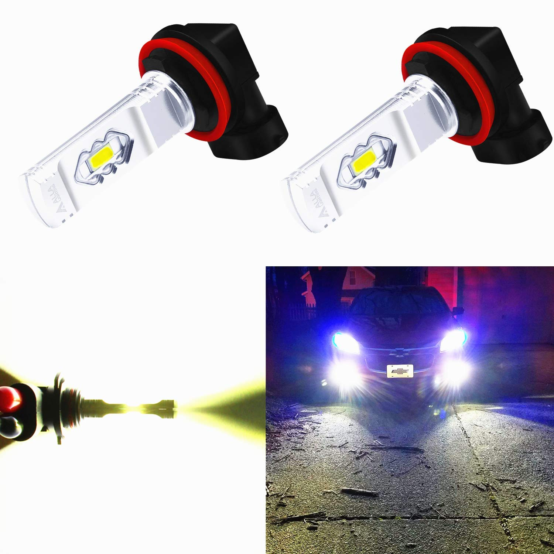Alla Lighting 3800lm Xtreme Super Bright H16 LED Bulbs Fog Light High Illumination ETI 56-SMD LED H16 Bulb H11 H8 H16 Fog Lights Lamp Replacement - 6000K Xenon White