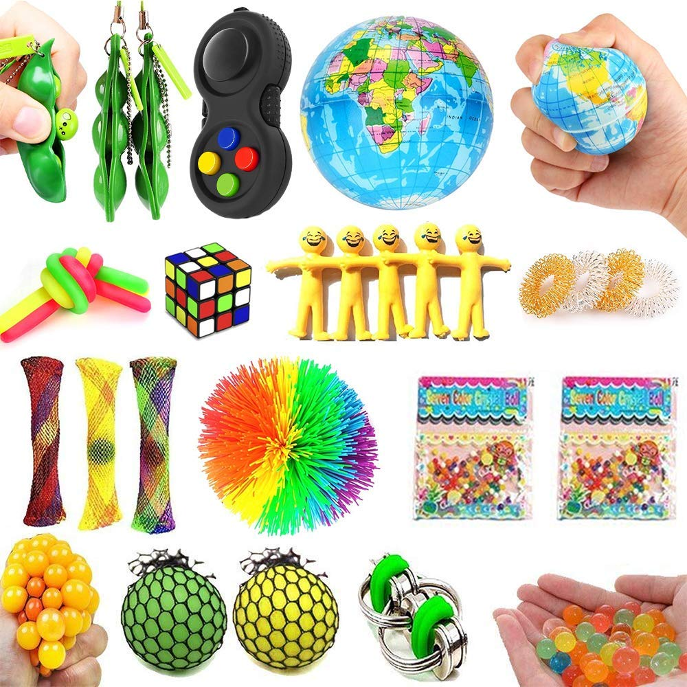 Dciko Stress Relief Fidget Sensory Toys Set for Kids(25 Pack)-Squeeze Widget for Relaxing Therapy-Calming Toys for Special Needs and Focus-Perfect for Adults Children with ADHD Autism Anxiety by Dciko