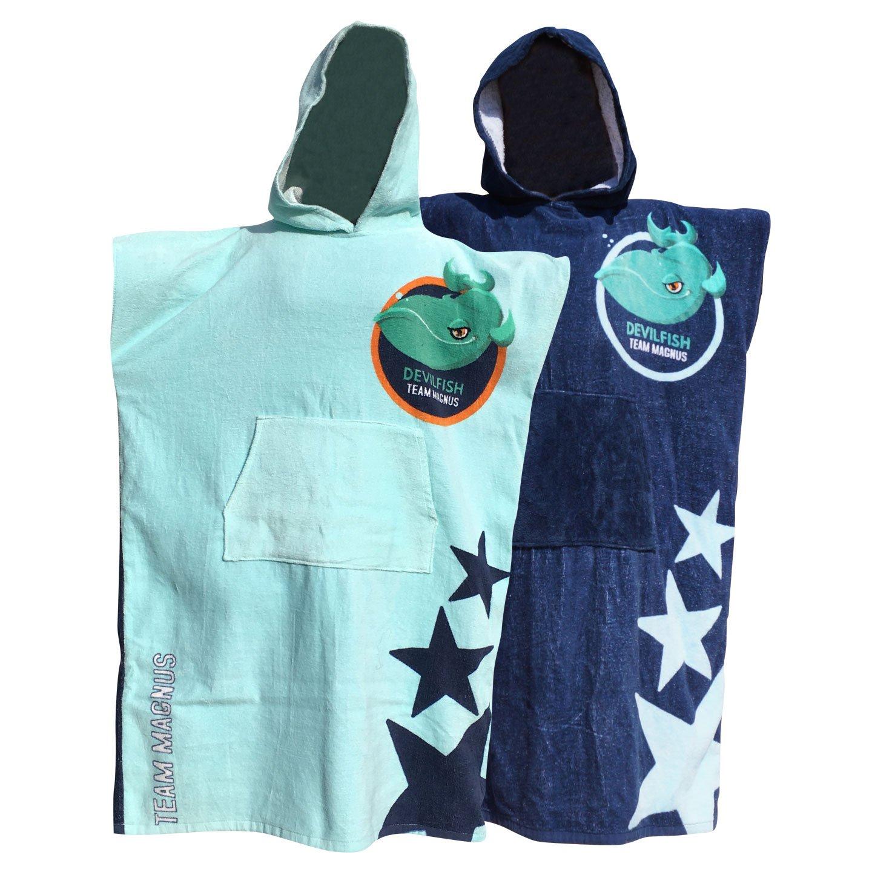 Asciugamano da bagno per ragazzi e ragazze 5-14 anni / accappatoio per bambini misura 120-170 cm ideale per gli sport acquatici, nuoto, campeggio e spiaggia - poncho da bagno (grande) in cotone di alta qualità - Team Magnus - unisex (blu)