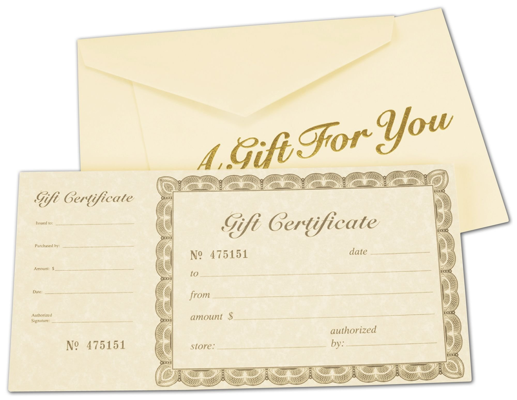 Ivory Gift Certificates, Gold, 8 3/8 x 4 1/8'' (100 Gift Certificates) - BOWS-503-00