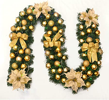 WXJHA 9 pies guirnaldas de Navidad para escaleras chimeneas Decoradas Garland Artificial árbol de Navidad Yarda del jardín de Decoraciones: Amazon.es: Hogar