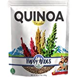 Happy Andes Tri-Color Quinoa 3 lbs - Non Gluten, Whole Grain Rice Substitute - Ready to Cook Food for Oats and Seeds Recipes