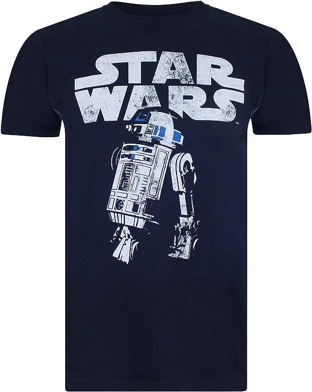 Star Wars R2D2 Camiseta, Azul (Navy), Large para Hombre: Amazon.es ...