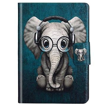 Felfy Kompatibel mit Hülle iPad Mini/Mini 2 / Mini 3 Case Leder Schön Elefant Muster Flip PU Leder Hülle Smart Cover Leder Ta