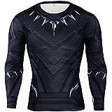 Rulercosplay Black Panther Shirt Long Sleeves Elastic Sport Shirt Black Panther Bodysuit