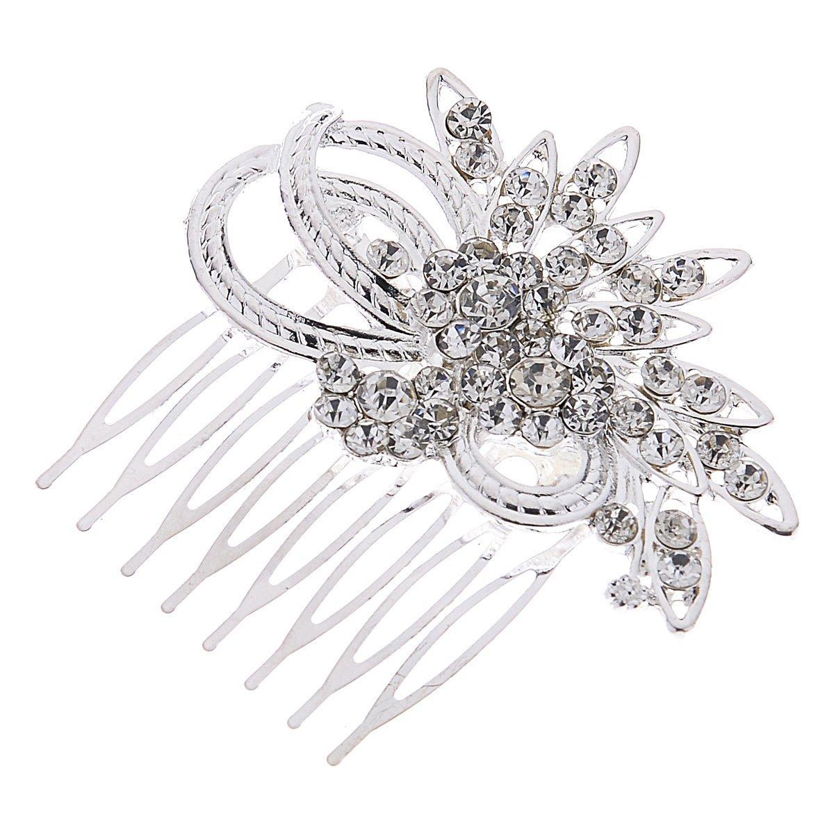 Remedios Vintage Crystal Bridal Hair Comb Wedding Hair Accessory, Silver LWCAFS160043CP12