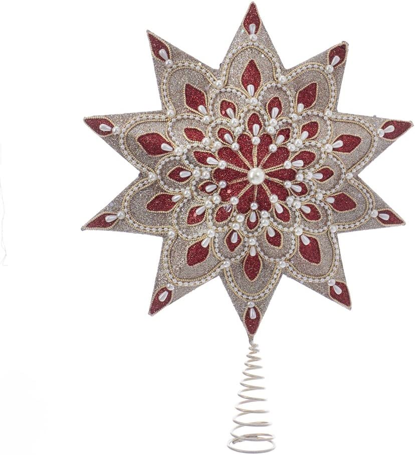 """Kurt S. Adler Cranberry & Champagne with Pearl Beads 10 Point 16.5"""" Star Tree Topper"""