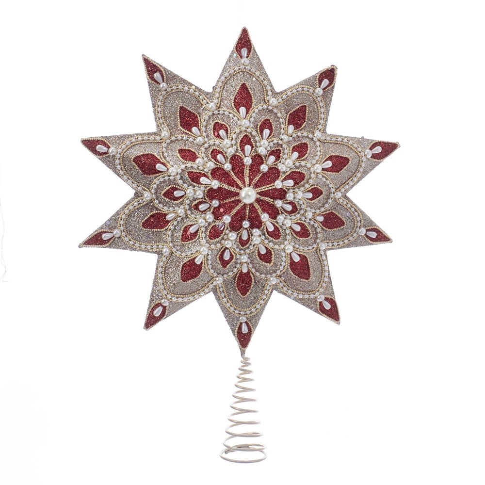 Kurt S. Adler Cranberry & Champagne with Pearl Beads 10 Point 16.5'' Star Tree Topper