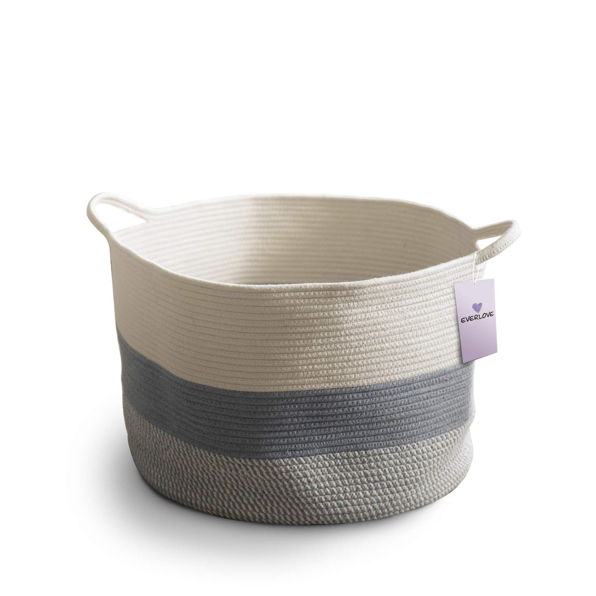 Everlove Large Blanket Basket Living Room - Woven Basket 20'' x 13'' - Cotton Rope Basket for Blankets Living Room - Large Basket - Large Baskets for Blankets Living Room - Blanket Storage by EverLove