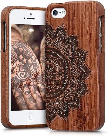 Kwmobile Hülle Kompatibel Mit Apple Iphone Se 1 Gen 2016 5 5s Handy Schutzhülle Aus Holz Cover Case Handyhülle Halbblume Dunkelbraun Elektronik