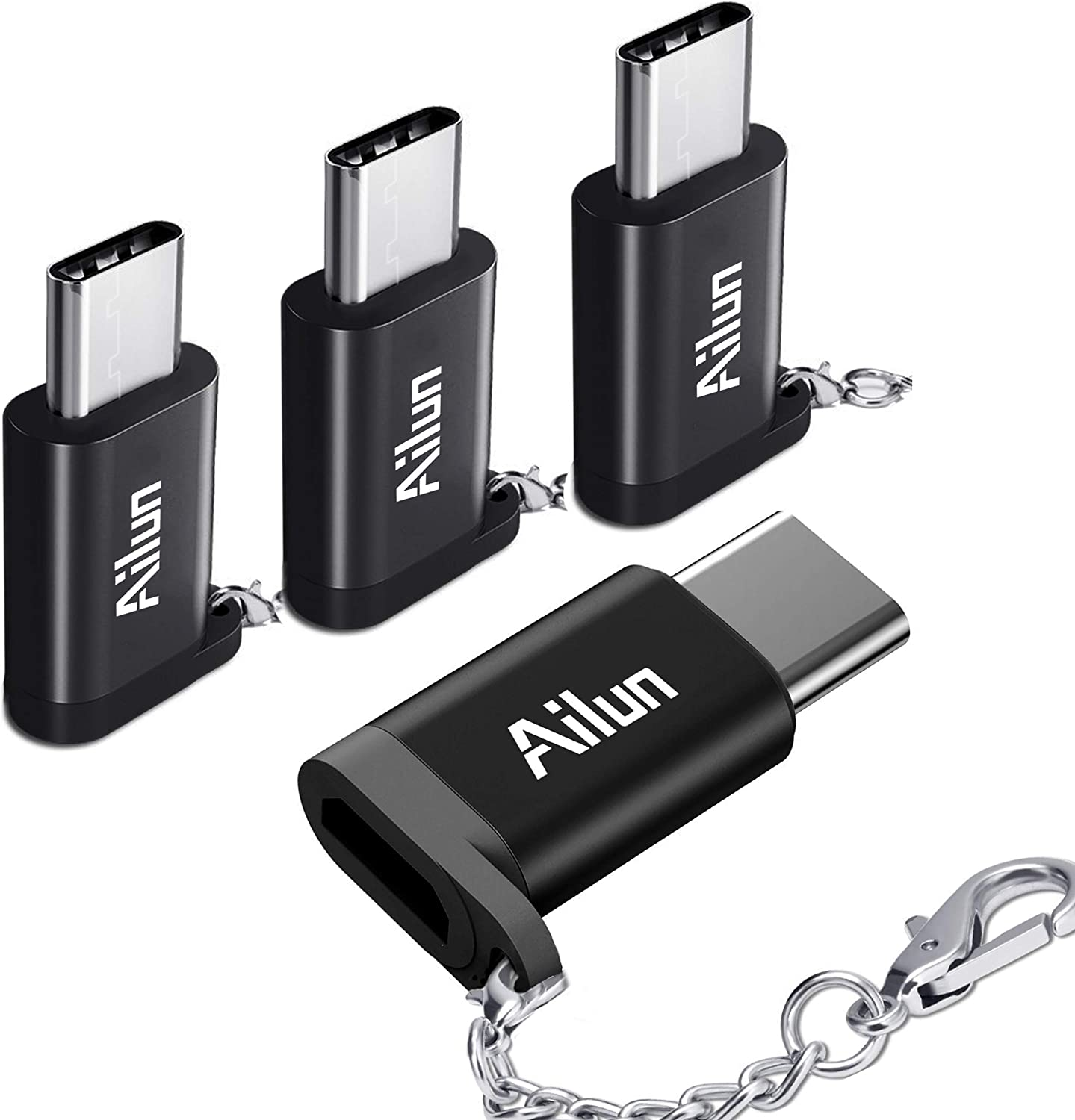 USB Type C Adapter 4 Pack Ailun USB C to Micro USB Convert Connector Compact with Keychain Sync and Charge for Galaxy s20, s20+ S20Ultra S10 S9 Plus MacBook ChromeBook More Type C Port Devices