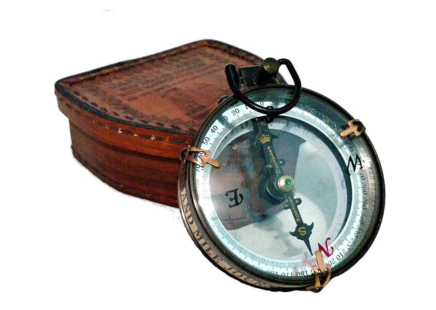 Decor Hunt Details About Antique Maritime Brass Compass Map Reader Double Lens Spencer Compass with Leather Box