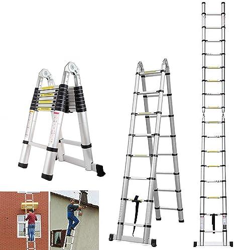 Escalera portátil de marco A de 5 m Escalera plegable telescópica de aluminio multiusos 16 pasos 150 KG Extensible de 88 cm a 500 cm: Amazon.es: Bricolaje y herramientas