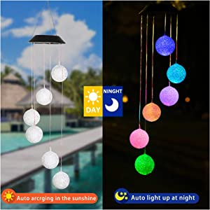 ZENQUAL Wind Chime Lights Solar Crystal Ball Color Changing Led Outdoor Waterproof Rechargeable Mobile Hanging Lights Garden Yard Patio Party Decoration Gift