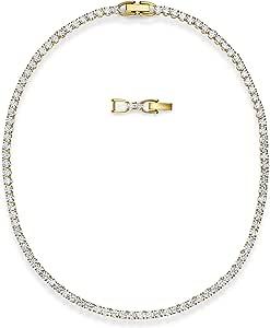Swarovski Collar Tennis Deluxe, Blanco, baño Tono Oro