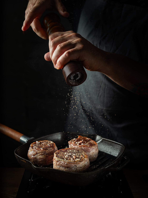 43865 Salt Shaker 6-Inch Rubberwood with Ceramic Grinding Mechanism Adjustable Pepper Grinder Mill Espresso Color HIC Harold Import Co