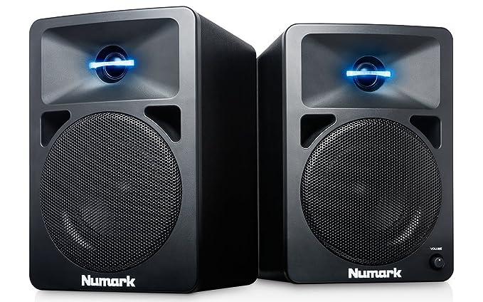 Numark N-Wave 360 - Monitores de DJ de Sobremesa Compactos de Rango Completo y 60 W con Iluminación LED en el Tweeter, Control de Volumen Dedicado y ...
