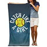 Catch Like A Girl Softball Catcher Adults Beach Towel 80x130 Inches