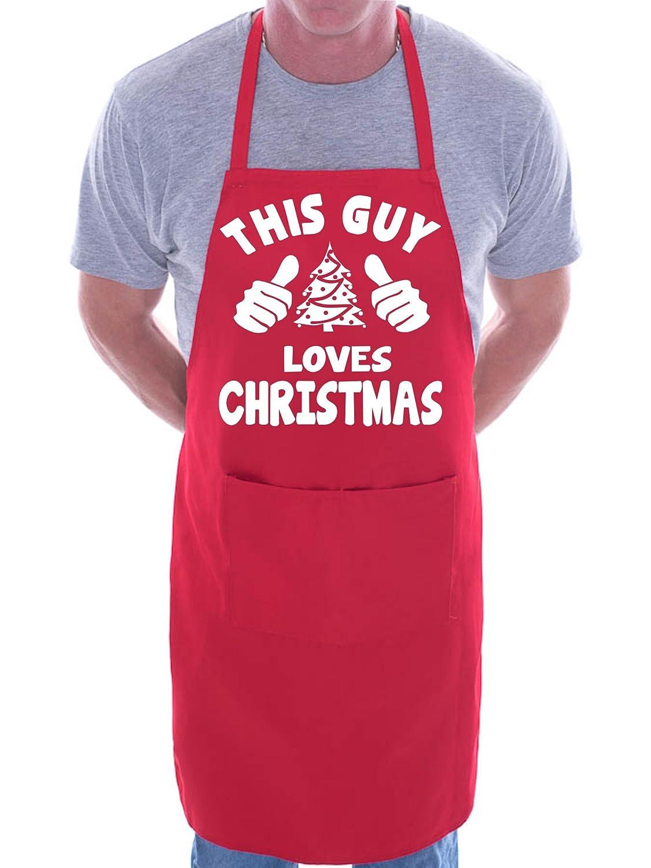 This Guy Loves Christmas Santa BBQ Cooking Funny Novelty Apron