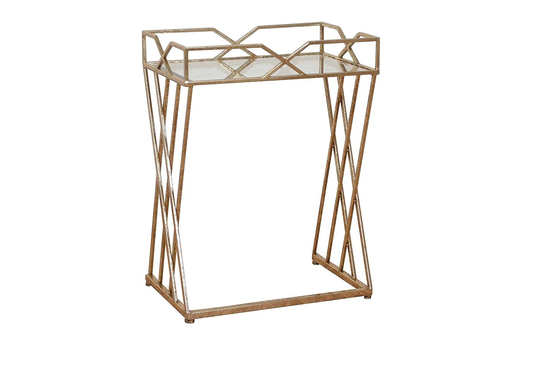 Beistelltisch, Konsolentisch rechteckig- Luisa Metall-Glas, goldfarbig- Höhe 62 cm