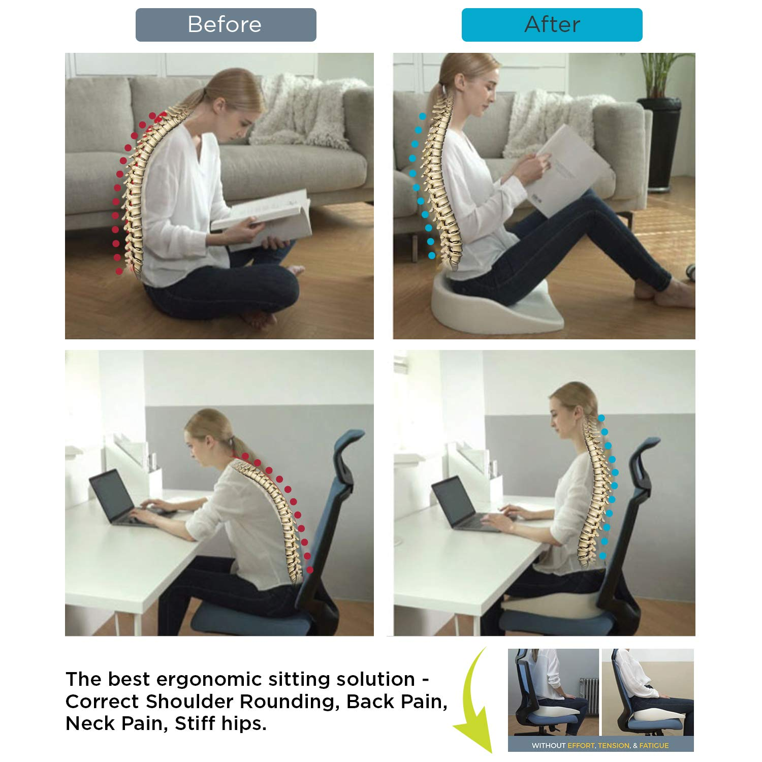 and Reduce neck Releases sitting stress /& slumping stress on your spine and hips shoulder and back pain to power through your day. Zero Gravity Upright Posture and promotes a healthier lifestyle