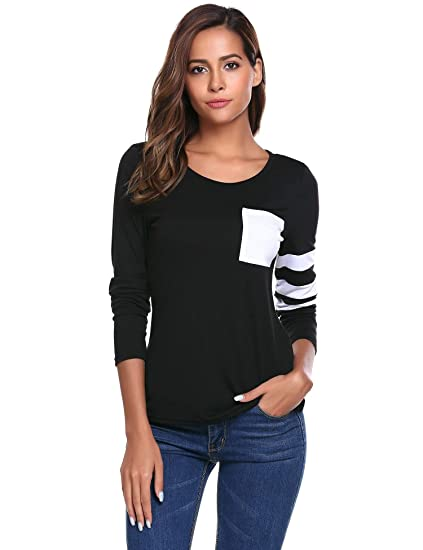 e91d040450 Zeagoo Women's Casual Striped Long Sleeve Pocket T Shirt Blouses Black S