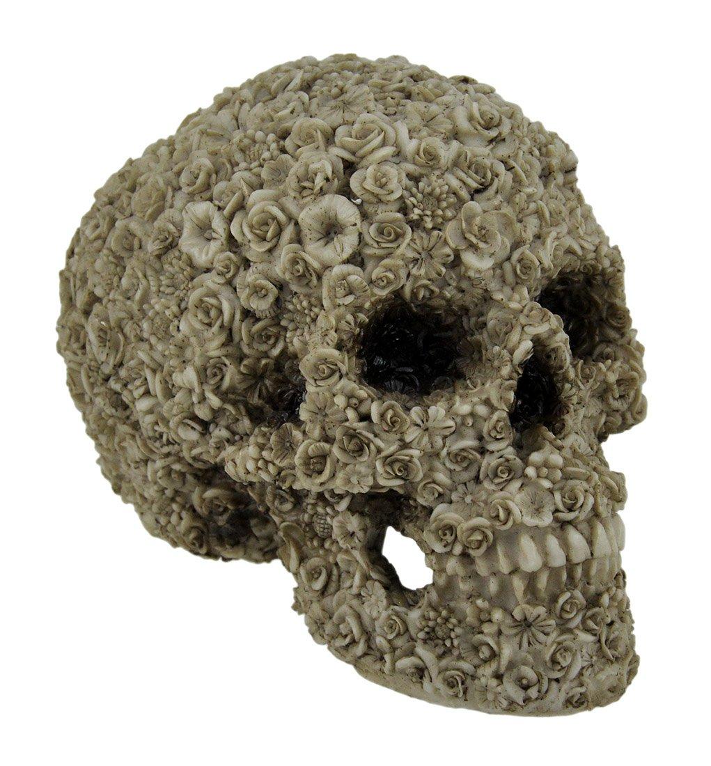 Zeckos Late Bloomer Flower Covered Human Skull Statue
