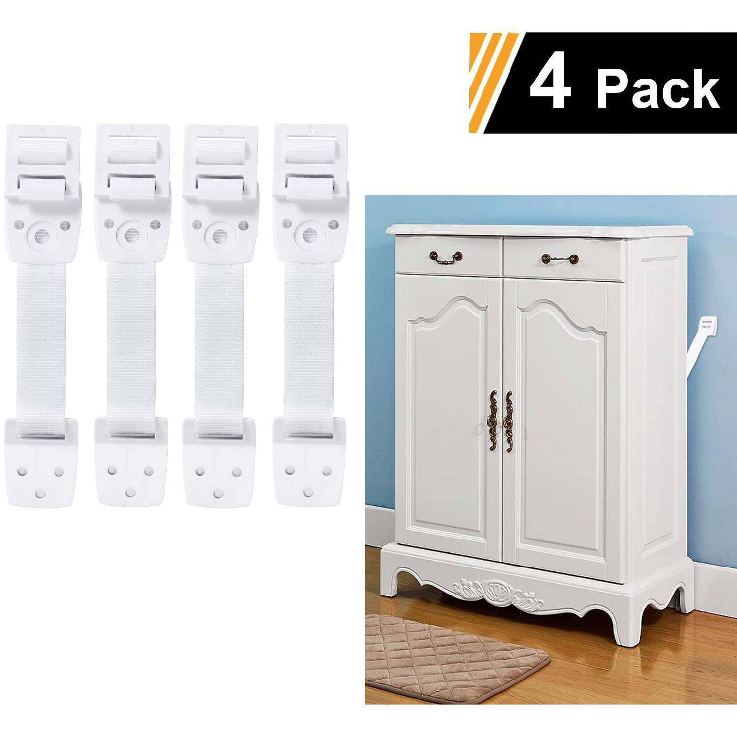 Adoric 4-Pack Anti-Tip Furniture Anchor / TV Straps Kits, Adjustable for All Flat Screens and Cabinets, Child/ Baby Proofing for Dresser Bookshelf, Mounting Hardware Included by Adoric Life