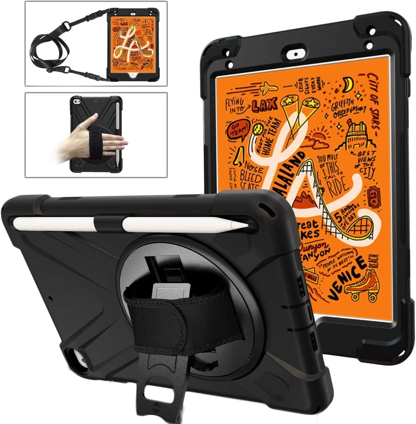 Herize Funda iPad Mini 4 con Porta Lápiz | Funda iPad Mini 5 para Adulto | Híbrido Cases de la Cubierta a Prueba de Golpes Carcasa | Correa para Hombro de Mano Giratoria 360 para iPad Mini 5/4 | Negro