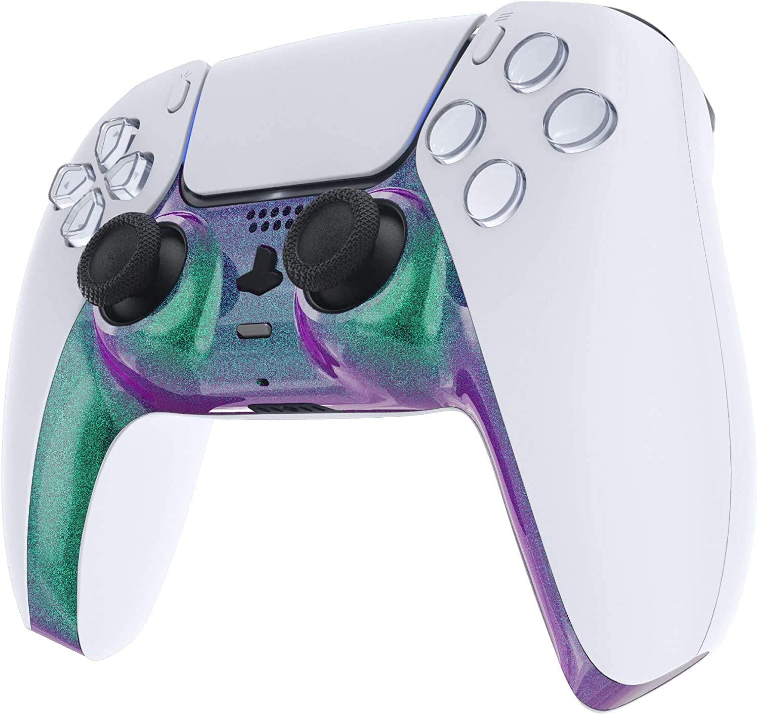 CONTROLLER NOT INCLUDED Duo Tone Purple Green PS5 Custom Replacement Controller Trim Faceplate Shell Plate for Playstation 5 Dualsense with Accent Rings