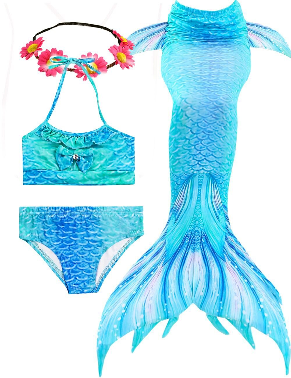 AMENON Mermaid Tails for Swimming Support Monofin Girls Bikini Swimsuits for Pool