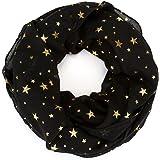 Ayliss Women Lightweight Infinity Loop Scarf Gold Silver Star Print Wrap