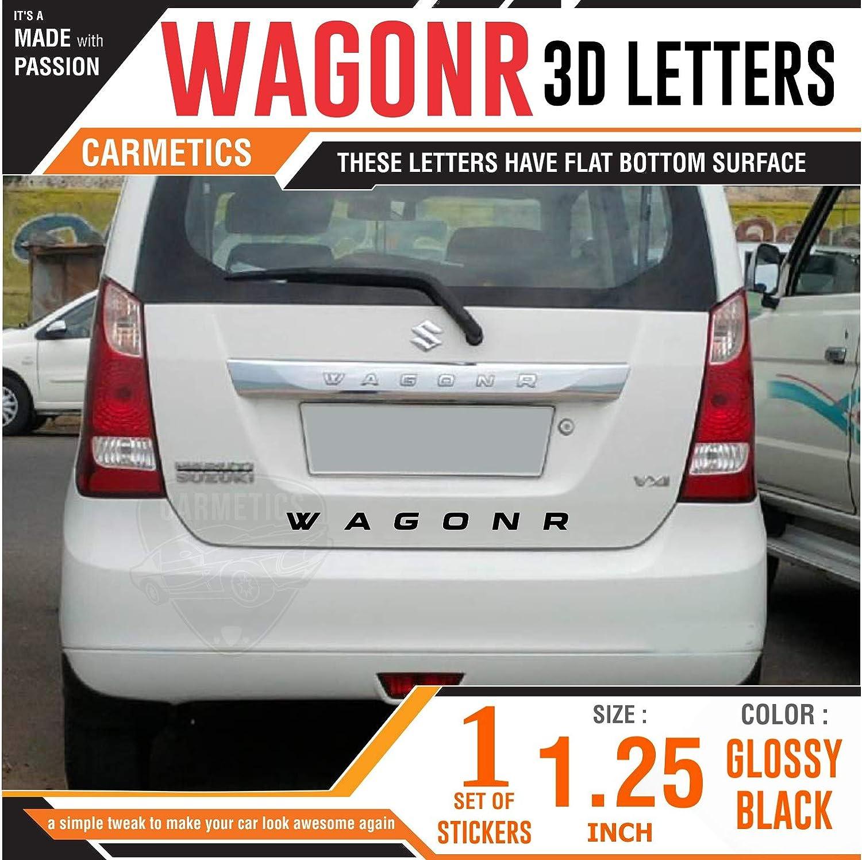 Carmetics wagonr 3d letters stickers logo emblem bonnet stickers accessories free chrome petrol stickers for maruti suzuki wagonrr glossy black 1 set