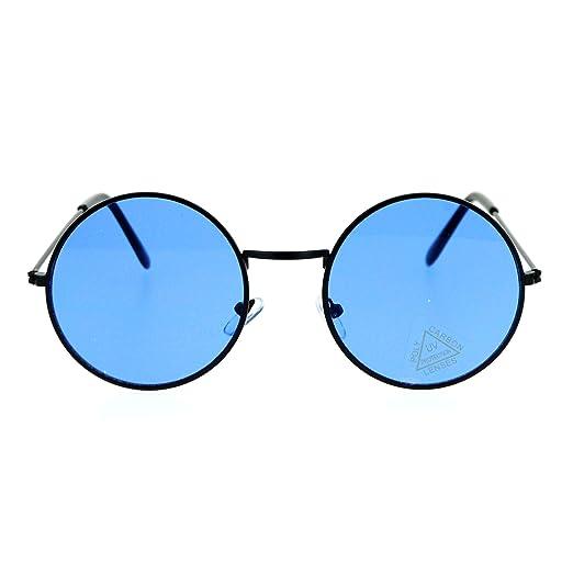 fbecf74b877 SA106 Retro Vintage Flat Color Circle Round Lens Sunglasses Black Blue