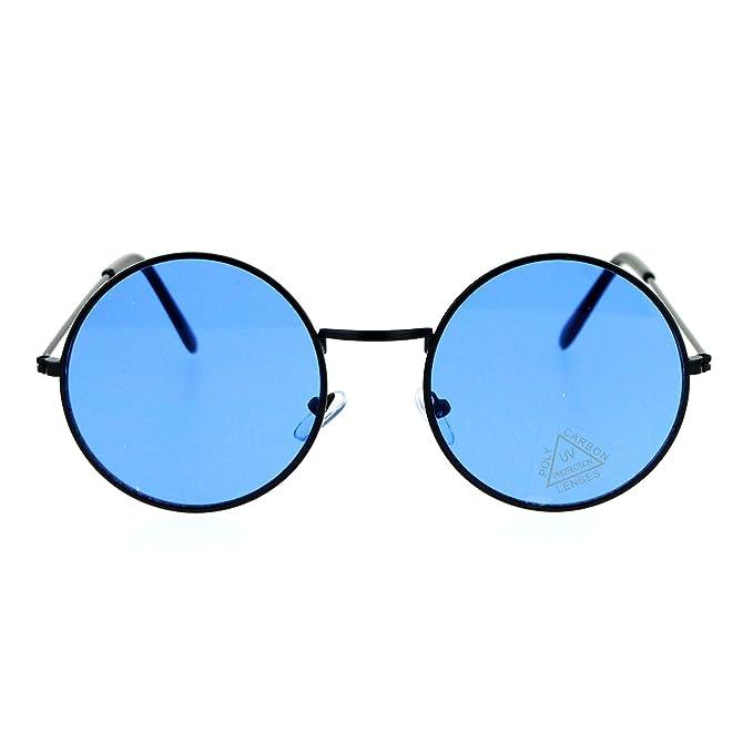 Amazon.com: SA106 lentes de sol circulares de color liso ...